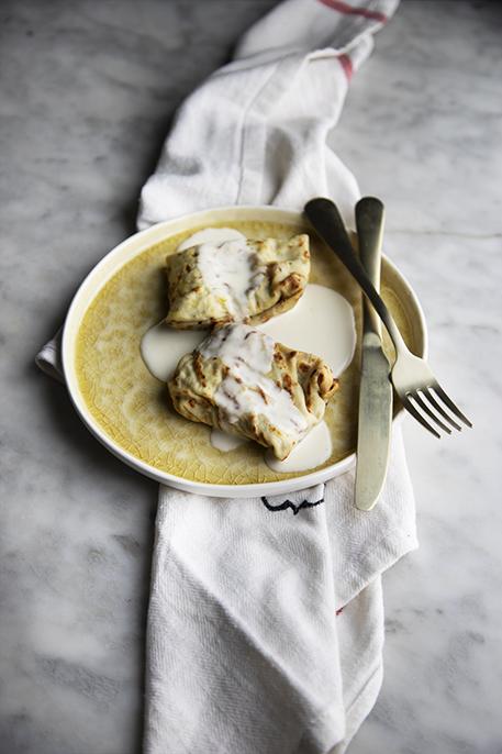 Crespelle alla zucca con fonduta di parmigiano